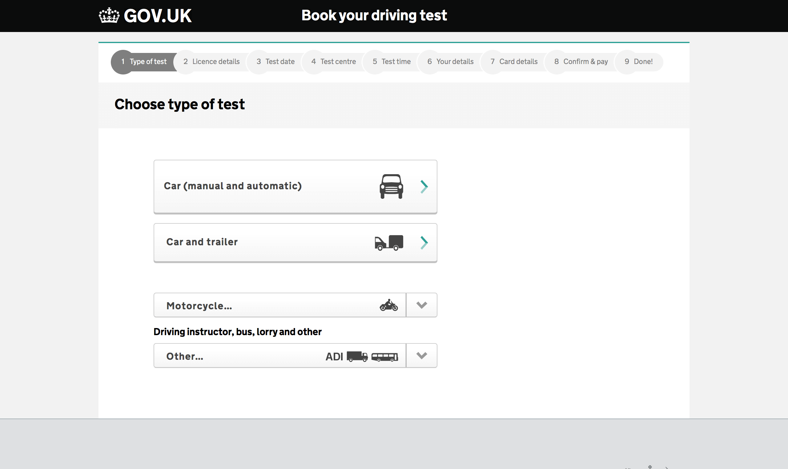 choose which type of road test