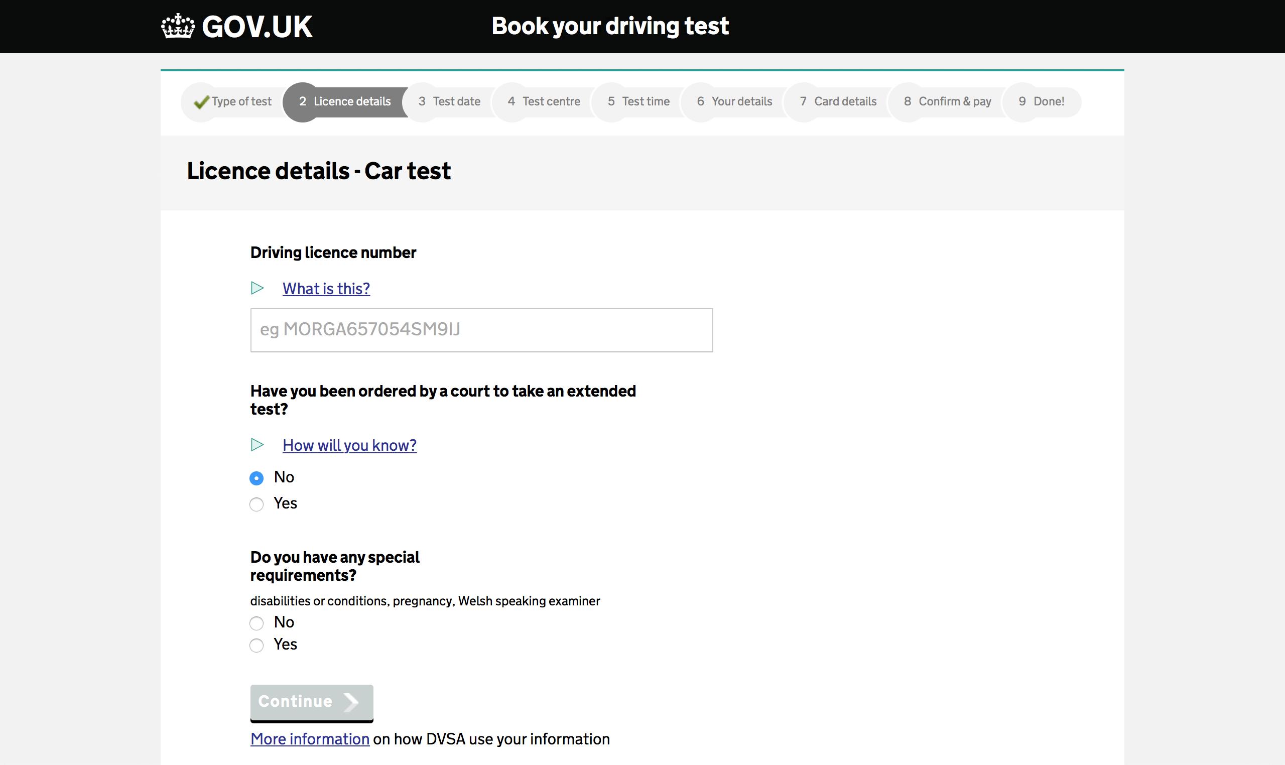 enter your test details