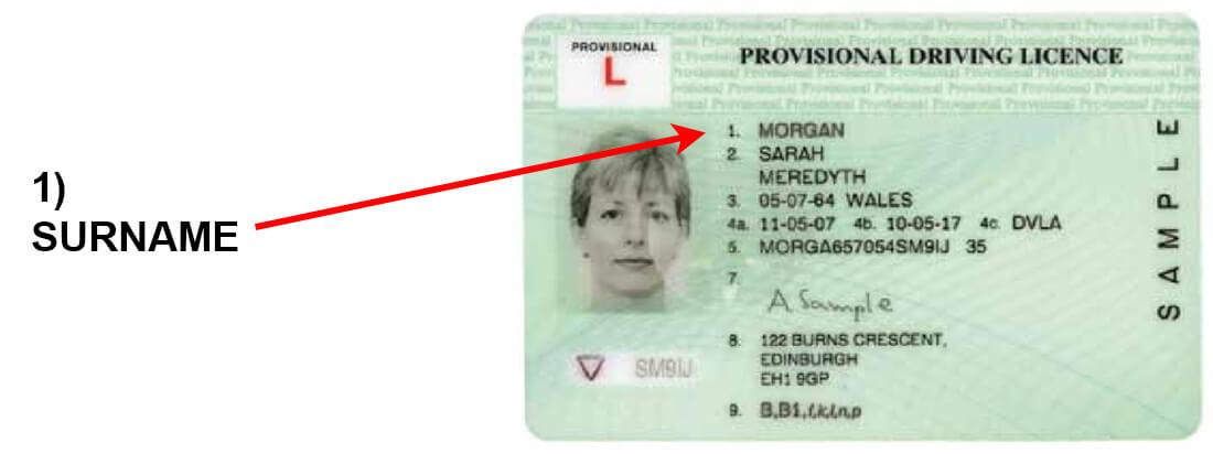 Driving license column 1