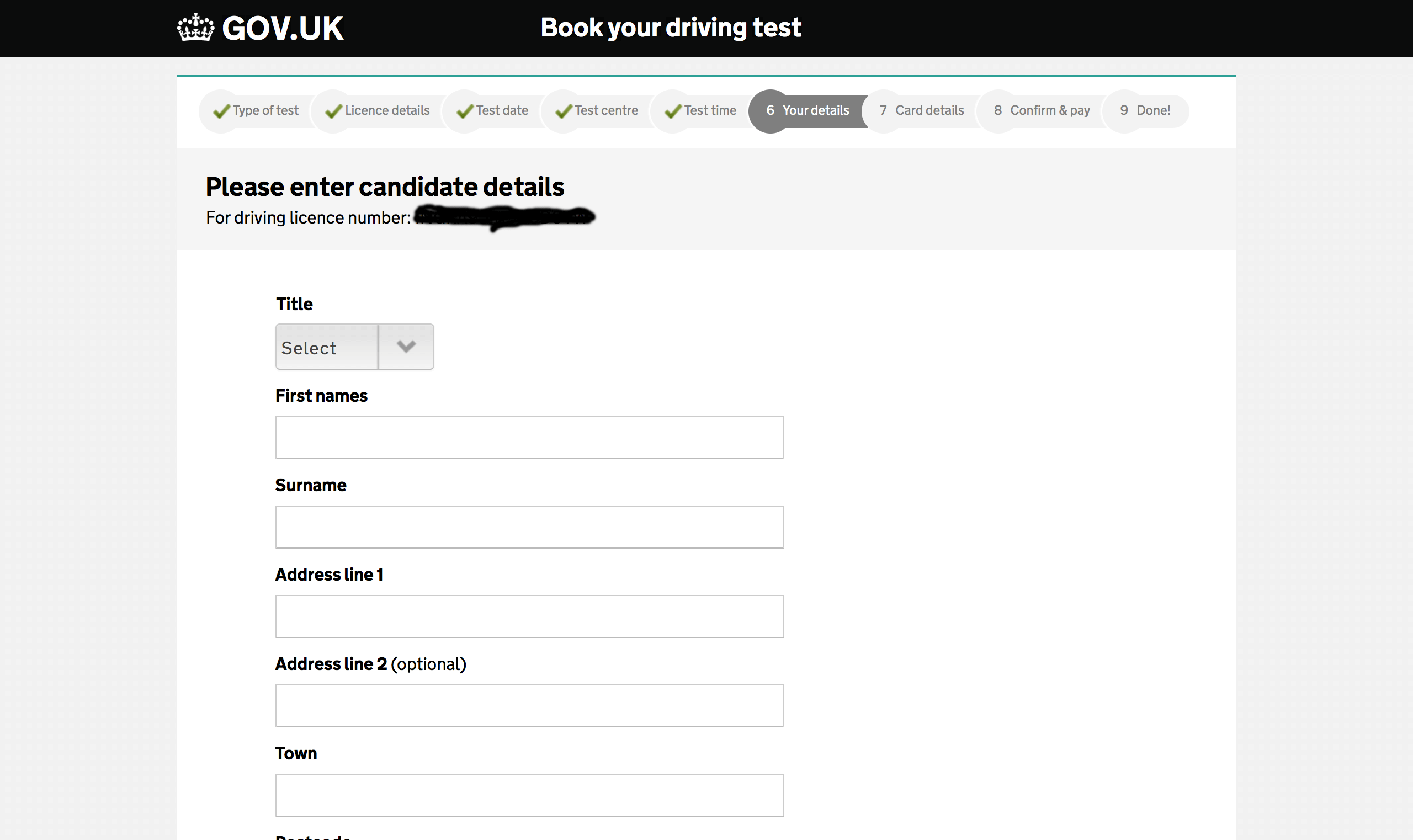 fill in your licence details